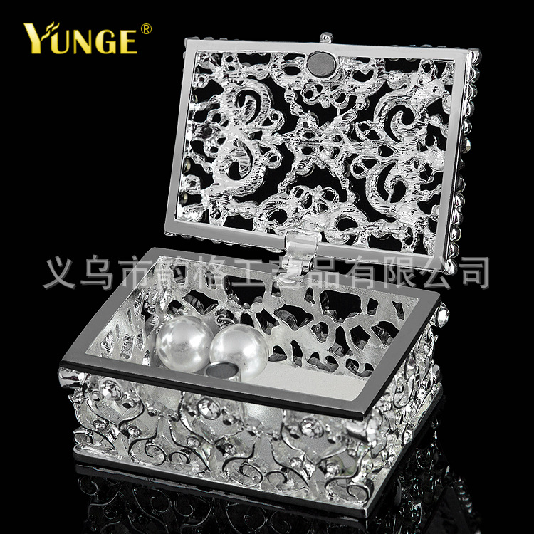 Factory direct silver-plated hollow metal crafts jewelry box high-end business gifts creative practical gifts