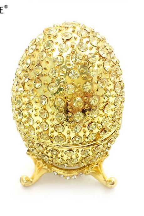 Enamel color diamond hand-painted alloy jewelry box, gold-plated full diamond egg shape crafts, home decoration