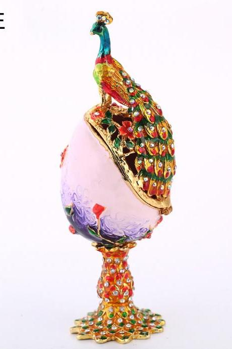 Southeast Asian style decoration creative peacock egg enamel painted diamond metal crafts gift factory direct sales