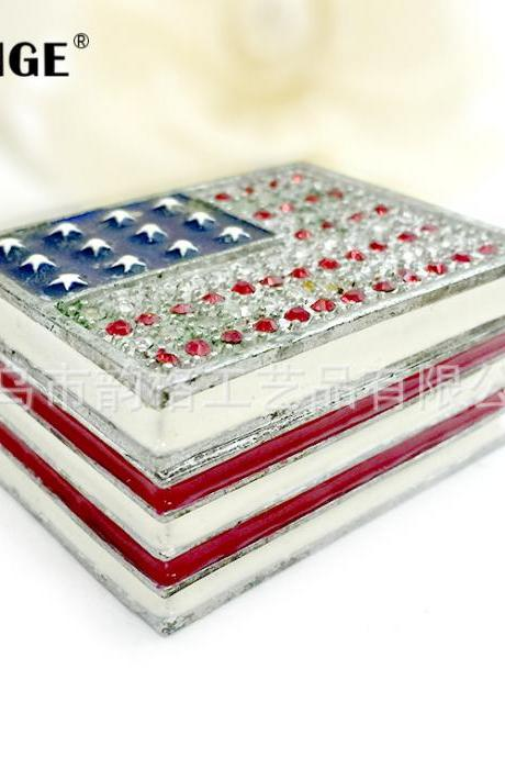 Creative gifts, practical paintings, oil-set diamonds, metal crafts, American flag jewelry boxes, decorative boxes, factory direct sales