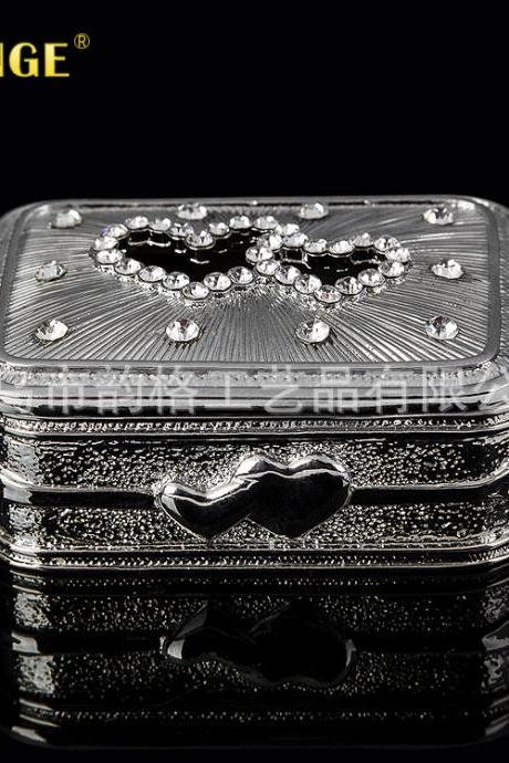Creative Boutique Valentine's Day Gifts Practical Gifts Silver Plated Diamond Metal Crafts American Jewelry Box Wholesale