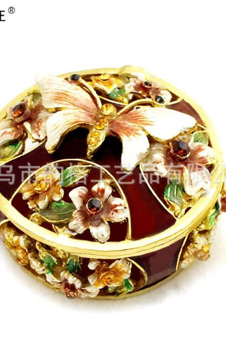 Creative practical gifts diamond enamel painted metal crafts jewelry box factory direct home decoration