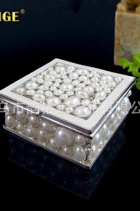 Factory direct pearl-encrusted jewelry box ring bracelet pendant gift packaging jewelry box storage box wholesale
